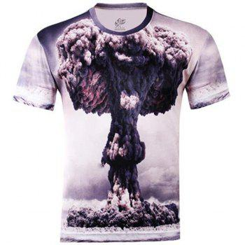 Slimming Trendy Round Neck 3D Mushroom Cloud Pattern Short Sleeve Men's Cotton Blend T-Shirt