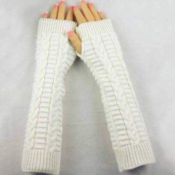 Pair of Chic Braid Shape Embellished Women's Long Knitted Fingerless Gloves