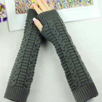 Pair of Chic Braid Shape Embellished Women's Long Knitted Fingerless Gloves - COLOR ASSORTED