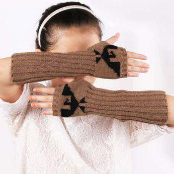 Pair of Chic Bird Pattern Striped Women's Knitted Fingerless Gloves
