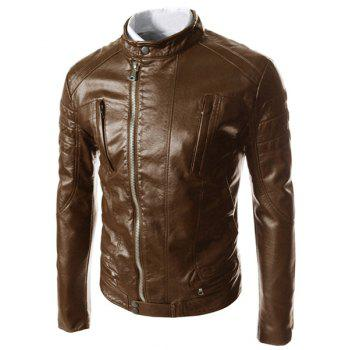 Slimming Modish Stand Collar Oblique Zipper Pocket Design Long Sleeve Men's PU Leather Jacket