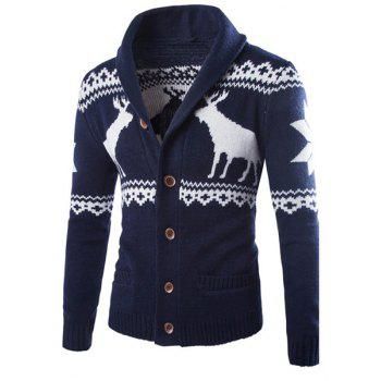Fawn Snowflake Christmas Jacquard Button Up Cardigan