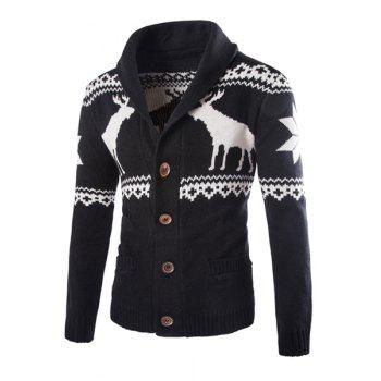 Slimming Fashion Turndown Collar Christmas Snowflake Fawn Jacquard Long Sleeve Men's Cotton Blend Cardigan