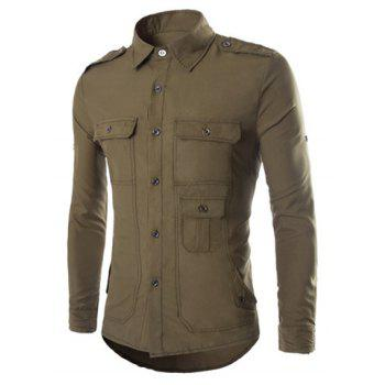 Slimming Fashion Shirt Collar Multi-Pocket Epaulet Design Long Sleeve Men's Polyester Shirt