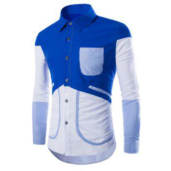 Stylish Slimming Shirt Collar Refreshing Color Spliced Long Sleeve Polyester Shirt For Men