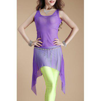 Stylish Women's Scoop Neck Sleeveless Mesh Dance Costume - PURPLE PURPLE