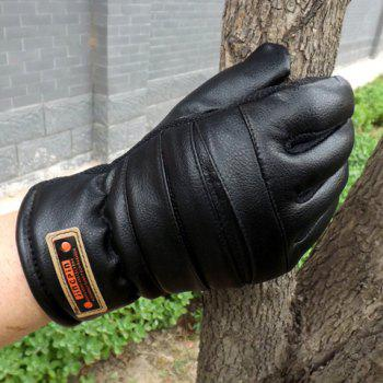 Pair of Stylish Letters Label Embellished Solid Color Men's PU Gloves