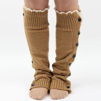 Pair of Chic Lace Edge and Buttons Embellished Women's Knitted Leg Warmers