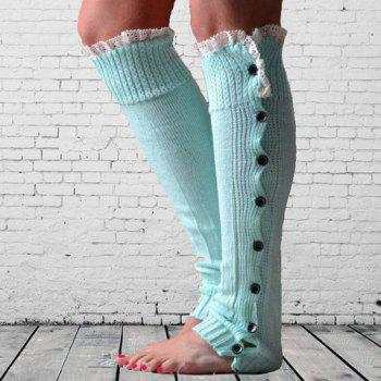 Pair of Chic Lace Edge and Buttons Embellished Women's Knitted Leg Warmers - COLOR ASSORTED