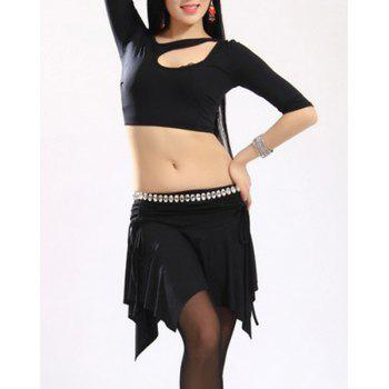 Stylish Women's Hollow Out 1/2 Sleeve Two-Piece Dance Costume - BLACK BLACK