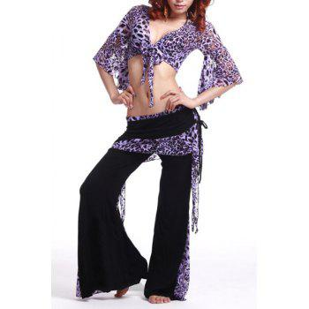 Stylish Plunging Neck Leopard Print Two-Piece Dance Costume For Women