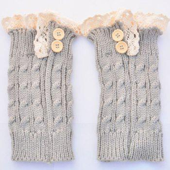 Pair of Chic Lace Edge Buttons Hemp Flower Women's Knitted Boot Cuffs