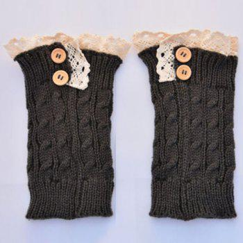 Pair of Chic Lace Edge Buttons Hemp Flower Women's Knitted Boot Cuffs -  COLOR ASSORTED