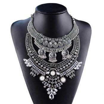 Rhinestone Round Waterdrop Layered Tassel Necklace