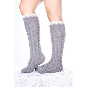 Pair of Chic Lace Edge Hemp Flower Women's Knitted Stockings - COLOR ASSORTED COLOR ASSORTED