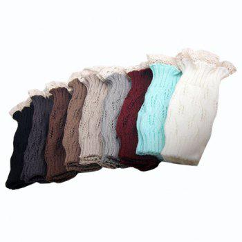 Pair of Chic Lace Edge Openwork Women's Knitted Leg Warmers
