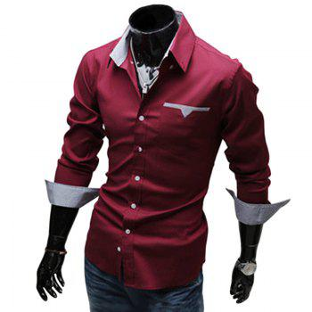 Chic Turn Down Collar Long Sleeve Printed Spliced Button Design Men's Shirt