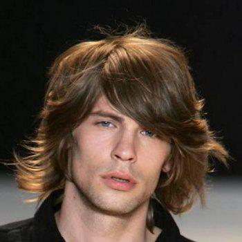 Buy Fluffy Wavy Stylish Inclined Bang Medium Deep Brown Capless High Temperature Fiber Wig Men