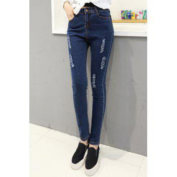 Stylish Deep Blue Frayed Bodycon Pencil Jeans For Women