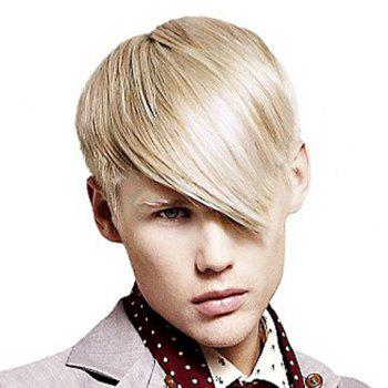Buy Trendy Heat Resistant Fiber Sparkling Light Blonde Short Side Bang Straight Capless Men's Wig