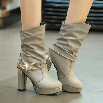 Trendy Metal and Solid Color Design High Heel Boots For Women - GRAY 35
