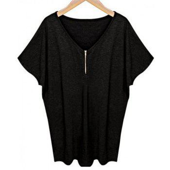 Stylish V-Neck Short Sleeve Zippered Loose-Fitting Women's T-Shirt