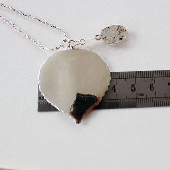 Leaf Faux Opal Pendant Necklace - SILVER