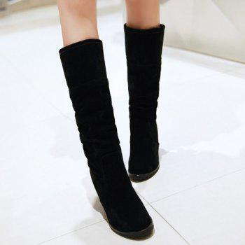 Fashion Suede and Lace-Up Design Mid-Calf Boots For Women - BLACK 38