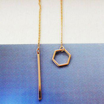 Hollow Out Geometric Bar Pendant Necklace - GOLDEN