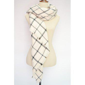 Chic Fringed Embellished Gingham Pattern Scarf For Women