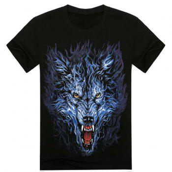Loose Fit Fashion Round Neck 3D Wolf Head Pattern Short Sleeve Men's Cotton Blend T-Shirt