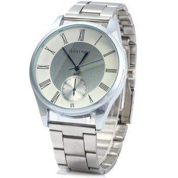 Rosivga 823 Decorative Sub-dials Quartz Watch with Stainless Steel Body Roman Numeral Scales for Men