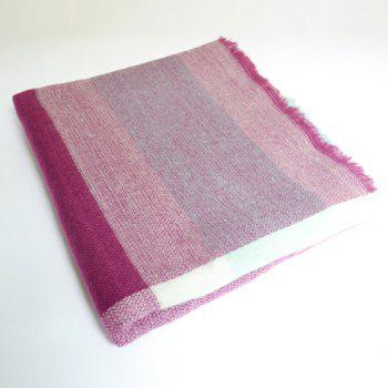 Chic Fringed Edge Plaid Pattern Multifunctional Women's Big Square Pashmina - PURPLE
