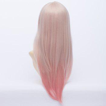 Super Sonico Natural Straight Fashion Inclined Bang Pink Ombre Charming Long Cosplay Wig - OMBRE 2