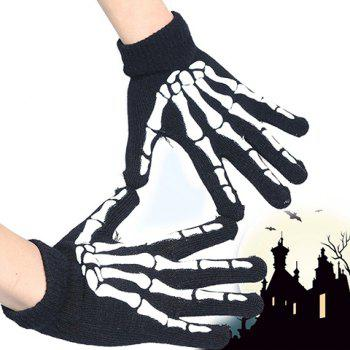 Pair of Stylish Various Pattern Hallowmas Men's Knitted Gloves