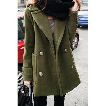 Chic Turn-Down Collar Long Sleeve Pocket Design Pure Color Women's Coat