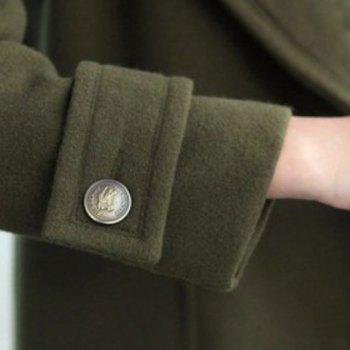 Chic Turn-Down Collar Long Sleeve Pocket Design Pure Color Women's Coat - ARMY GREEN L