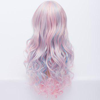 Gorgeous Side Bang Light Pink Mixed Azure Shaggy Wavy Capless Long Lolita Style Cosplay Wig - COLORMIX