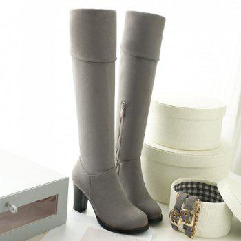 Laconic Suede and Zipper Design Over The Knee Boots For Women - GRAY 39