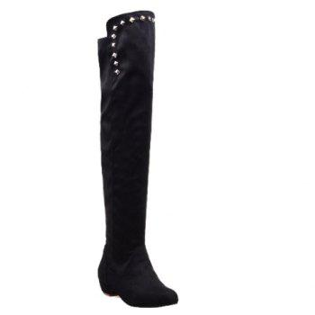 Laconic Suede and Rivets Design Over The Knee Boots For Women