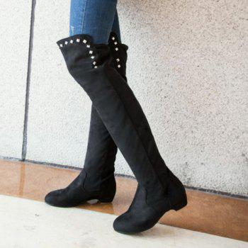 Laconic Suede and Rivets Design Over The Knee Boots For Women - BLACK 39