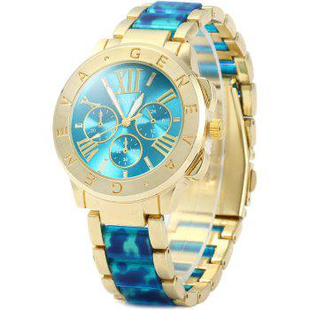 Geneva Female Quartz Watch with Decorative Sub-dials Leopard Print Plastic + Steel Strap