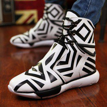 Stylish Color Matching and Rivets Design Boots For Men - WHITE/BLACK 42
