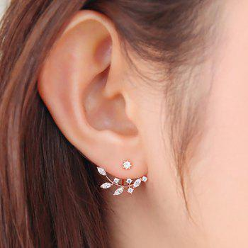 Rhinestone Leaf Branch Earrings - ROSE GOLD
