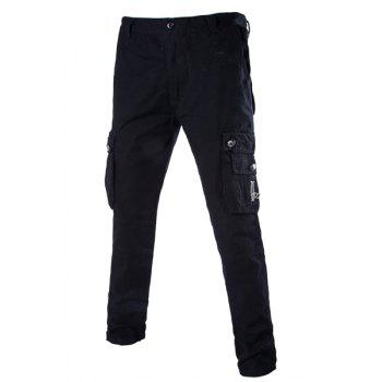 Fashion Slimming Stereo Pocket Zipper Design Straight Leg Cotton Blend Cargo Pants For Men