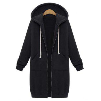 Casual Style Long Sleeve Hooded Zip Design Solid Color Women's Hoodie