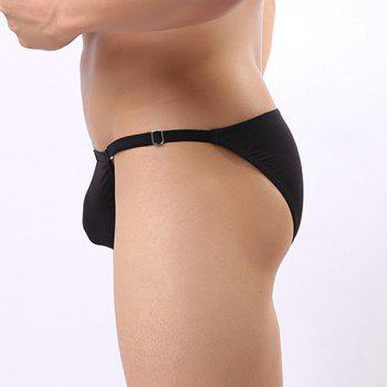 Personality Low Waist Letters Labeling Pure Color Men's U Convex Pouch Sexy Briefs - BLACK ONE SIZE(FIT SIZE XS TO M)