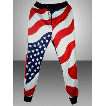 Fashion Lace-Up Loose Fit Stars and Stripes Print Beam Feet Cotton Blend Jogger Pants For Men