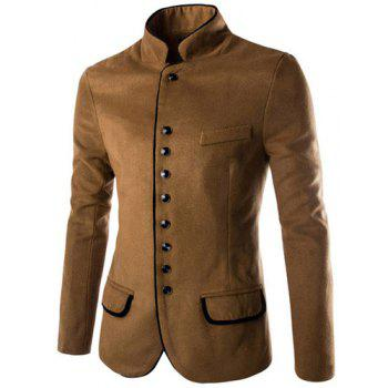 Slimming Stylish Stand Collar Single Breasted Color Block Edging Long Sleeve Men's Woolen Blend Blazer