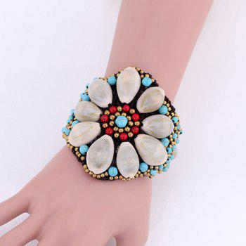 Weaved Wax Cord Faux Turquoise Shell Flower Bracelet